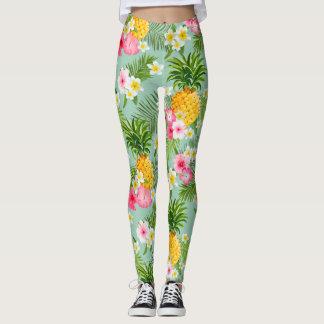 Teste padrão tropical elegante da aguarela do legging