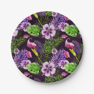 Teste padrão tropical roxo preto da aguarela da prato de papel
