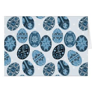 Teste padrão ucraniano do azul dos ovos da páscoa cartão comemorativo