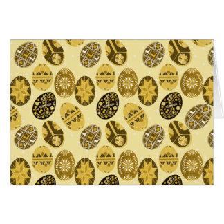 Teste padrão ucraniano dos ovos da páscoa - amarel cartão comemorativo