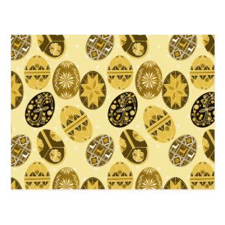 Teste padrão ucraniano dos ovos da páscoa - amarel cartao postal