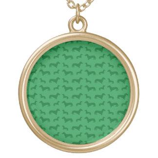Teste padrão verde bonito do dachshund colar com pendente redondo
