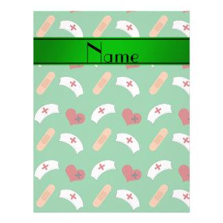 Teste padrão verde conhecido personalizado da modelo de panfleto