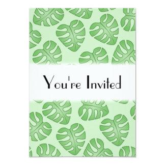 Teste padrão verde da folha, folhas de Monstera Convite 12.7 X 17.78cm