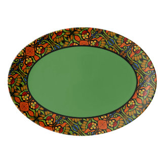 Teste padrão verde da guarnição do joaninha travessa de porcelana