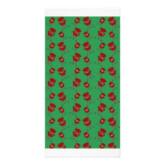 teste padrão verde do assado cartões com foto personalizados