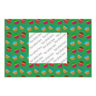 Teste padrão verde do cupcake impressão de foto