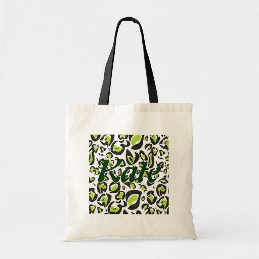 Teste padrão verde do impressão do leopardo bolsa para compras