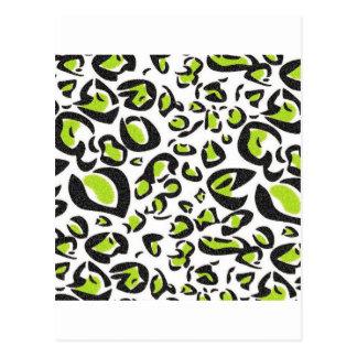 Teste padrão verde do impressão do leopardo cartão postal