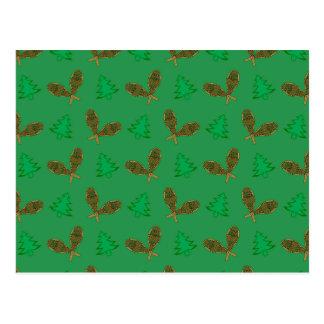 Teste padrão verde do sapato de neve cartoes postais