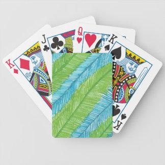 Teste padrão verde e azul das folhas de palmeira carta de baralho