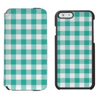 Teste padrão verde e branco da verificação do capa carteira incipio watson™ para iPhone 6