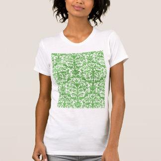 Teste padrão verde e branco do papel de parede do camiseta