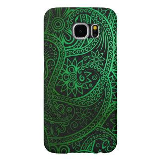 Teste padrão verde elegante de Paisley Capas Samsung Galaxy S6