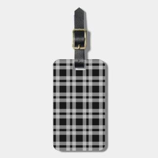Teste padrão verificado preto e branco da xadrez etiqueta de bagagem