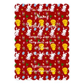 Teste padrão vermelho bonito da páscoa da cesta do convites