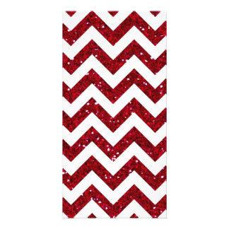 Teste padrão vermelho de Chevron do brilho Cartão Com Foto
