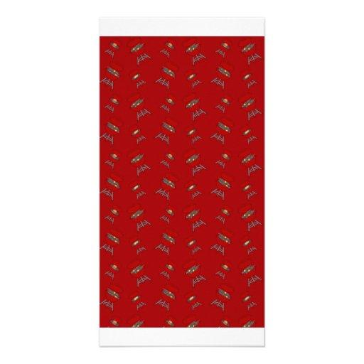 teste padrão vermelho do assado cartões com fotos