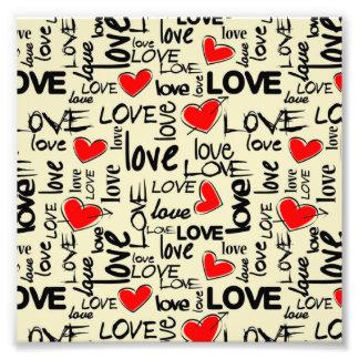 Teste padrão vermelho do coração do amor impressão de foto