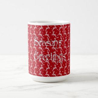 Teste padrão vermelho do floco de neve da rena caneca de café