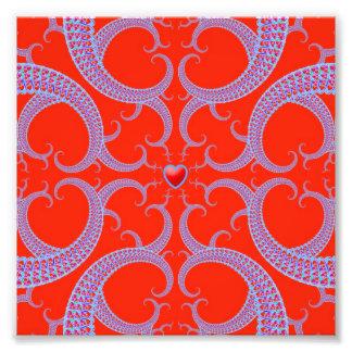 Teste padrão vermelho do Fractal do coração Fotos