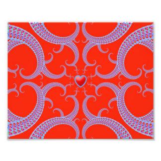 Teste padrão vermelho do Fractal do coração Impressão De Foto