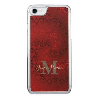 Teste padrão vermelho do monograma do damasco do capa iPhone 7 carved