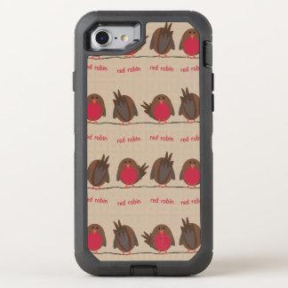Teste padrão vermelho do pisco de peito vermelho capa para iPhone 8/7 OtterBox defender