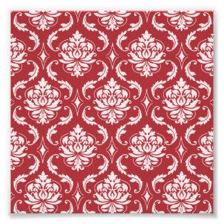 Teste padrão vermelho do vintage do damasco impressão de foto