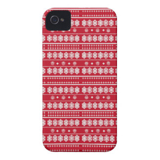 Teste padrão vermelho dos flocos de neve do White Capa Para iPhone 4 Case-Mate