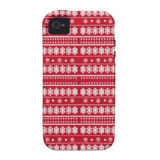 Teste padrão vermelho dos flocos de neve do White Capas Para iPhone 4/4S