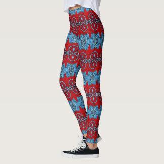 Teste padrão vermelho e azul leggings