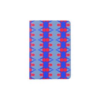 Teste padrão vermelho e azul lunático no suporte capa para passaporte