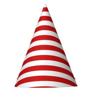 Teste padrão vermelho e branco da listra chapéu de festa