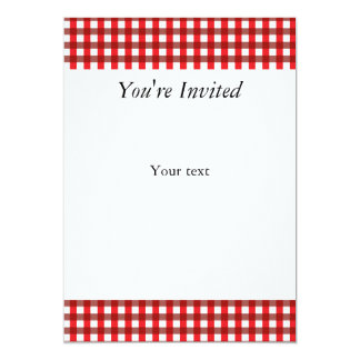 Teste padrão vermelho e branco do guingão convite 12.7 x 17.78cm