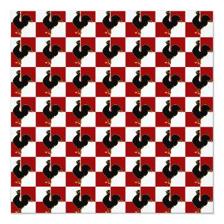 Teste padrão vermelho e preto da galinha do galo convite quadrado 13.35 x 13.35cm