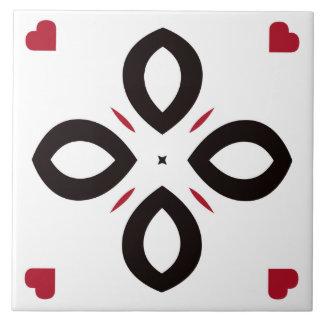 Teste padrão vermelho e preto da telha cerâmica no azulejo quadrado grande