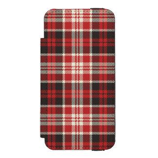 Teste padrão vermelho e preto da xadrez capa carteira incipio watson™ para iPhone 5