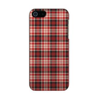 Teste padrão vermelho e preto da xadrez capa metálica para iPhone SE/5/5s
