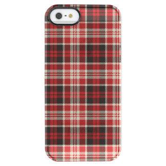 Teste padrão vermelho e preto da xadrez capa para iPhone SE/5/5s transparente