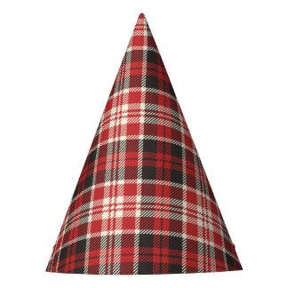 Teste padrão vermelho e preto da xadrez chapéu de festa