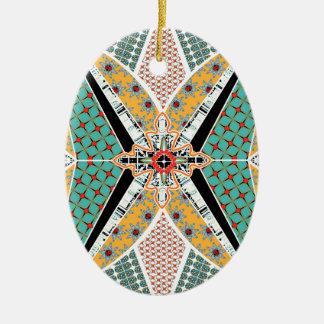 Teste padrão vibrante do centro moderno de África Ornamento De Cerâmica Oval