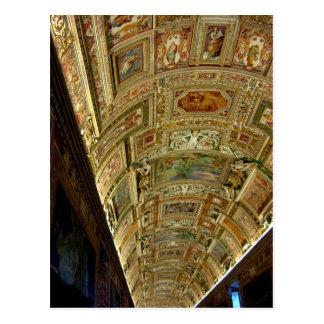 Teto no museu do vaticano, cartão de Roma Italia