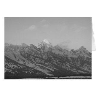 Tetons grande no inverno, Jackson Hole, Wyoming Cartão Comemorativo