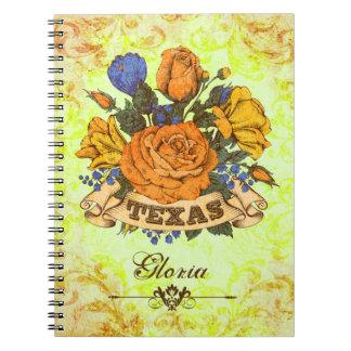 Texas, floral rústico cadernos espiral