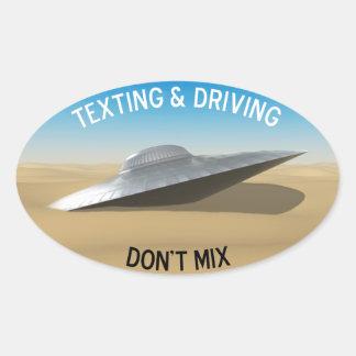 Texting & a condução não misturam adesivo oval