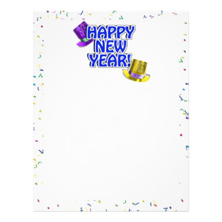 Texto azul & branco do feliz ano novo panfletos personalizados