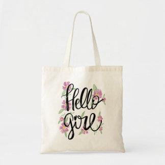 Texto baseado num guião tipográfico floral da bolsa tote