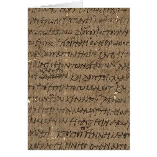 Texto com escrita antiga, papel do pergaminho do cartão comemorativo