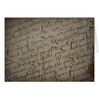 Texto com escrita antiga, papel velho do pergaminh cartão
